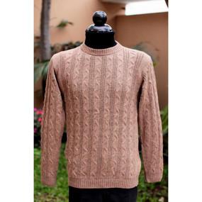 Superfine Alpaca Wool Crewneck Cable Sweater Sz M Soft Camel