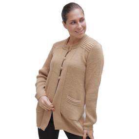 Womens Alpaca Wool Coat Soft Camel Size M