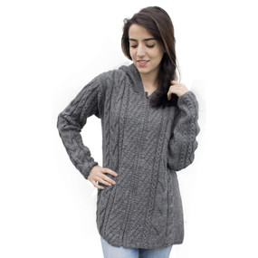 Womens Superfine Alpaca Wool Hand Knitted Hooded Cable Jacket Size M Gray