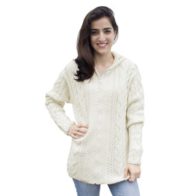 Womens Superfine Alpaca Wool Hand Knitted Hooded Cable Jacket Size L Ivory