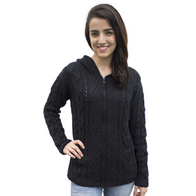 Womens Superfine Alpaca Wool Hand Knitted Hooded Cable Jacket Size S Black