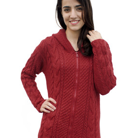Womens Superfine Alpaca Wool Hand Knitted Hooded Cable Jacket Size L Red