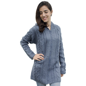 Womens Superfine Alpaca Wool Hand Knitted Hooded Cable Jacket Size XL Steel Blue