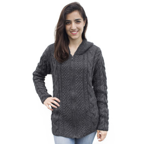 Womens Superfine Alpaca Wool Hand Knitted Hooded Cable Jacket Size M Charcoal Gray