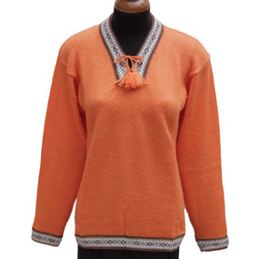 Ethnic Vneck Alpaca Wool Sweater SZ M Orange