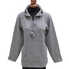 Hooded Alpaca Wool Sweater SZ L Medium Gray
