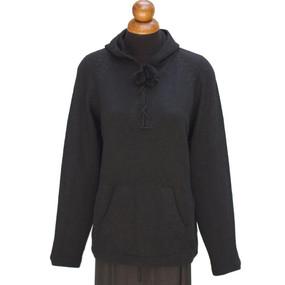 Hooded Alpaca Wool Sweater SZ L Black