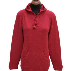 Hooded Alpaca Wool Sweater SZ M Red