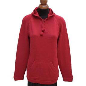 Hooded Alpaca Wool Sweater SZ L Red