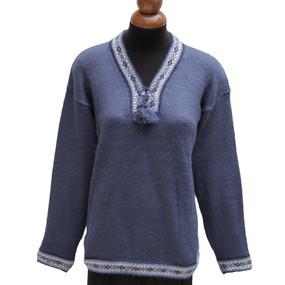 Ethnic Vneck Alpaca Wool Sweater SZ M Steel Blue