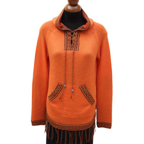 Inca Hooded Alpaca Wool Womens Sweater SZ L Orange