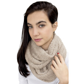 100% Baby Alpaca Boucle Knitted Infinity Scarf Beige