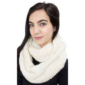100% Baby Alpaca Boucle Knitted Infinity Scarf Ivory