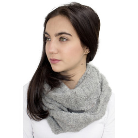 100% Baby Alpaca Boucle Knitted Infinity Scarf Soft Gray