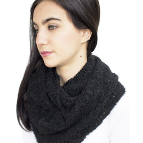 100% Baby Alpaca Boucle Knitted Infinity Scarf Black