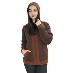 Hooded Alpaca Wool Border Jacket SZ S Brown-Copper