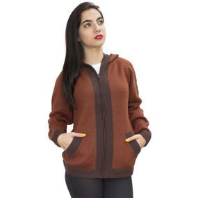 Hooded Alpaca Wool Border Jacket SZ XL Copper-Brown