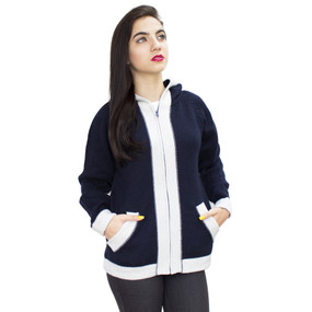 Hooded Alpaca Wool Border Jacket SZ S Navy Blue-Ivory