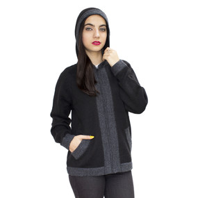 Hooded Alpaca Wool Border Jacket SZ M Black-Gray (14P-033-500404M)