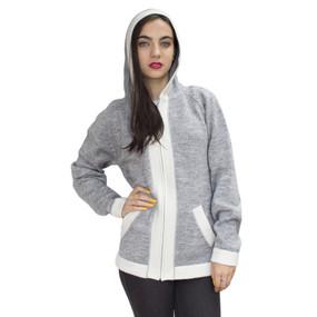 Hooded Alpaca Wool Border Jacket SZ XL Silver Gray-Ivory