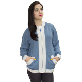 Hooded Alpaca Wool Border Jacket SZ L Soft Blue-Ivory