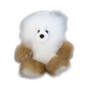 "Superfine 100% Baby Alpaca Fur Stuffed Artist Teddy Bear 11"" Ivory/Beige (22-100-03379)"
