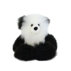 "Superfine 100% Baby Alpaca Fur Stuffed Artist Teddy Bear 11"" Black/Ivory (22B-100-011)"