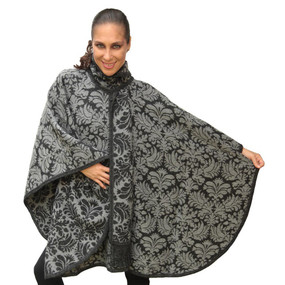Women's Superfine Alpaca Wool Reversible Baroque  Poncho Cloak With Scarf