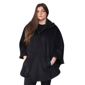 Womens 100% Natural Fiber Alpaca Wool Blend Woven Lined Collared Buttoned Cape Cloak