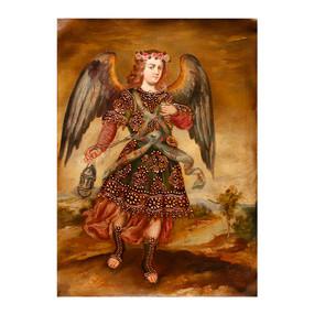 Archangel Sealtiel Original Colonial Cuzco Peru Folk Art Oil Painting On Canvas
