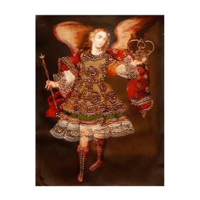 """Archangel Angel Gabriel Original Colonial Peru Folk Art Oil Painting On Canvas 16"""" x 12"""""""