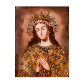 "Virgin Mary Original Colonial Cuzco Peru Folk Art Oil Painting On Canvas  16"" x 12"""