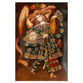 Musician Archangel Original Colonial Cuzco Peru Folk Art Oil Painting On Canvas