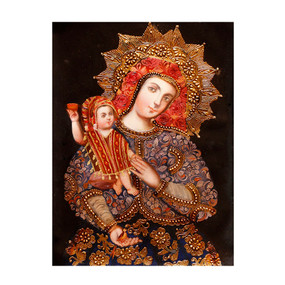 "Madonna And Child Original Cuzco Peru Folk Art Oil Painting On Canvas  16"" x 12"""