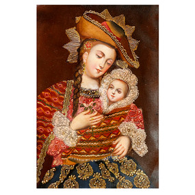 """Andes Madonna And Child Jesus Cuzco Peru Folk Art Oil Painting On Canvas  12"""" x 8"""""""