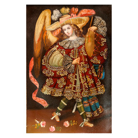 "Musician Archangel Original Colonial Cuzco Peru Folk Art Oil Painting On Canvas  12"" x 8"" (7195)"