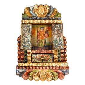 """Archangel Gabriel Peru Retablo Folk Art Painting Handcarved Wood Altarpiece  11.5""""H x 8""""W"""