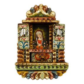"Cuzco Madonna Peru Retablo Folk Art Painting Handcarved Wood Altarpiece  11""H x 7.5""W"