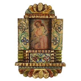 "Divine Shepherdess Peru Retablo Folk Art Painting Handcarved Wood Altarpiece  14""H x 9""W"