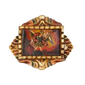 """Archangel Michael Peru Retablo Folk Art Painting Handcarved Wood Altarpiece  8.5""""H x 10""""W"""
