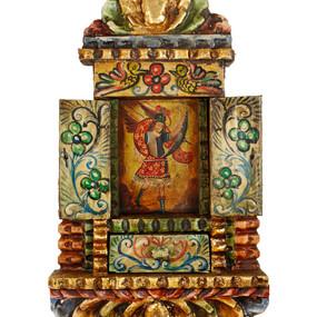 """Archangel Michael Icon Peru Retablo Folk Art Painting Handcarved Wood Altarpiece  14""""H x 8.5""""W"""