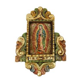 "Guadalupe Virgin Lady Peru Retablo Folk Art Painting Handcarved Wood Altarpiece  11""H x 8""W"
