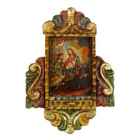 "Flight from Egypt Peru Retablo Folk Art Painting Handcarved Wood Altarpiece  11""H x 8""W"