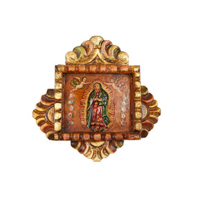 "Guadalupe Virgin High Relief Peru Retablo Folk Art Painting Handcarved Wood   8.5""H x 9""W"