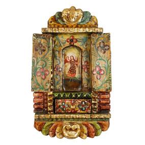 """Archangel Gabriel Peru Retablo Folk Art Painting Handcarved Wood Altarpiece  14""""H x 8.5""""W  (4301)"""