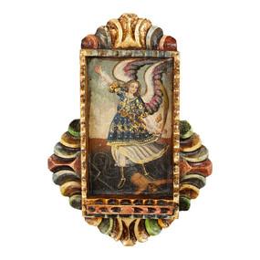 """Archangel Michael Icon Peru Retablo Folk Art Painting Handcarved Wood Altarpiece  10""""H x 7""""W  (4305)"""