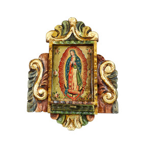 "Guadalupe Virgin Lady Peru Retablo Folk Art Painting Handcarved Wood Altarpiece  10""H x 8""W (4357)"