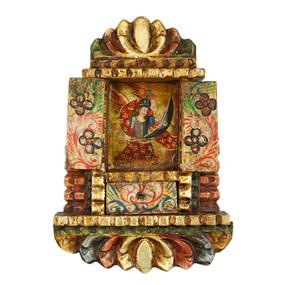 """Archangel Michael Peru Retablo Folk Art Painting Handcarved Wood Altarpiece   12""""H x 8""""W (4378)"""