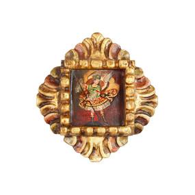 """Archangel Michael Peru Retablo Folk Art Painting Handcarved Wood Altarpiece  7.5""""H x 7""""W (4339)"""