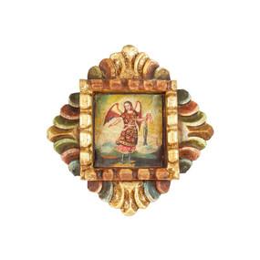 """Archangel Gabriel Peru Retablo Folk Art Painting Handcarved Wood Altarpiece  7.5""""H x 7""""W (4340)"""